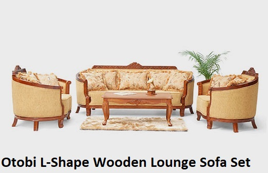 Otobi L-Shape Wooden Lounge Sofa Set